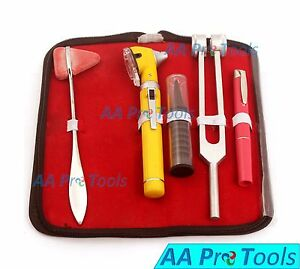 Led Fiberoptic Otoscope Tuning Fork C128 Taylor Hammer Diagnostic Ent Set Yellow