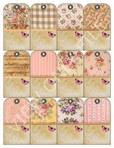 12 Shabby Chic Country Cottage Vintage Hang Tags Scrapbooking Paper Crafts 173