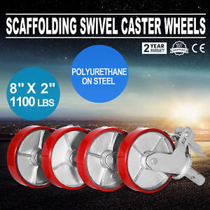 A Set Of 4 Scaffolding 8 Cast Iron Caster Wheel With Double Locking Brakes