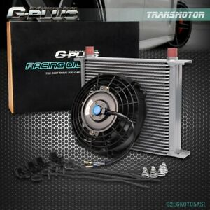 Universal 30 Row Engine Transmission 10an Oil Cooler 7 Electric Fan Kit Sl