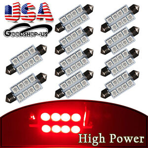 10pcs Red 42mm 5050 8smd Festoon Car Trunk Cargo Interior Led Light Bulb 569 578