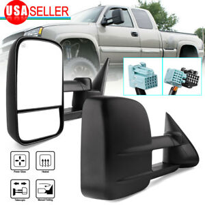 Tow Mirrors For 98 01 Dodge Ram 1500 98 02 2500 3500 Power Heated Manual Flip up