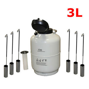 3l Liquid Nitrogen Tank Cryogenic Container Ln2 Dewar 6pcs Pails lock Cover New