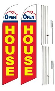 Windless Swooper Flag Kit Twin Pack Open House Red Yellow Blue Home Image