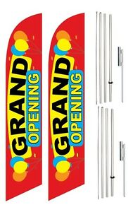Windless Swooper Flag Kit Twin Pack Grand Opening Multi color W Balloons
