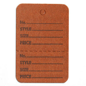 1000 Pc New Perforated Brown Merchandise Tags Without Strings 1 1 2 x1 3 4