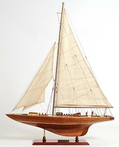 America S Cup 1933 Endeavour J Class Sailboat 24 Wooden Model Yacht Assembled