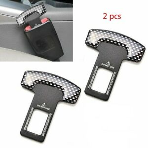 2 X Car Safety Seat Belt Buckle Alarm Stopper Clip Clamp Carbon Fiber Universal