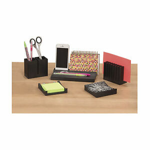 Wood Desk Organizer Set Black
