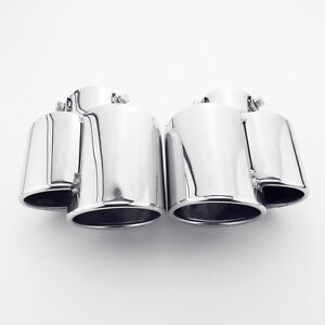 Pair Porsche 911 996 Look Dual Out Bolt On Stainless Steel Exhaust Tips 2 25