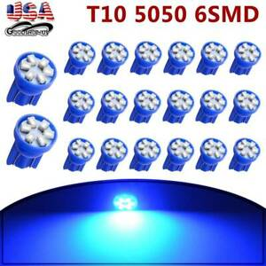 20x Blue T10 Wedge 6smd Led Interior Dome Map Light Bulbs W5w 192 194 164 2825