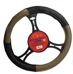 New Pyro Beige And Black Steering Wheel Cover Universal Fit 14 Inches By Cpr