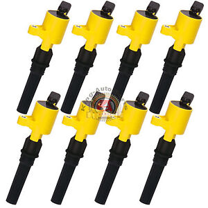 Ignition Coil 8 Pack For Ford Multispark Blaster Epoxy 4 6l 5 4l Dg508 Yellow