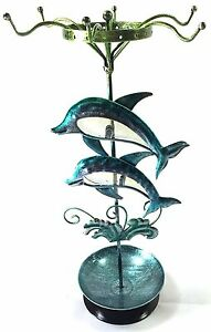 Twin Dolphins Ring Necklace Bracelet Earring Holder Combo Jewelry Display