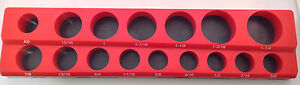 1 2 Drive 15pc Magnetic Sae Socket Holder 6 Deep 9 Shallow 1 Adapter