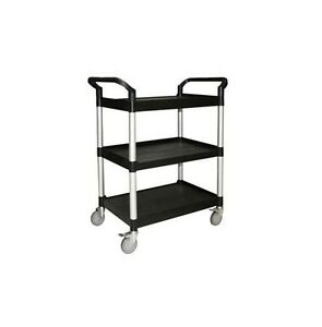 Bus Utility Cart For Commercial Kitchen 3 Shelves Black 40 X 19 X 37