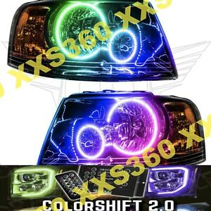 Oracle Halo Headlights Black For Ford Expedition 03 06 Colorshift 2 0 W Remote