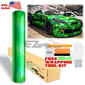 Holographic Green Rainbow Neo Chrome Car Vinyl Wrap Air Bubble Free Sticker Diy