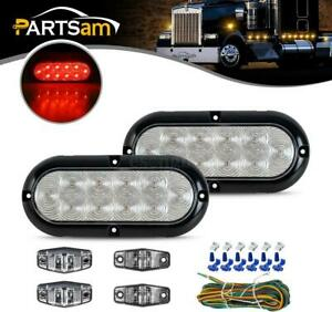 Trailer Boat Rv Led Light Kit clear Lens Stop Turn Tail side Marker wire Harness