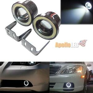 2pcs 2 5 64mm High Power Projector Led Fog Light White Cob Angel Eye Halo Ring