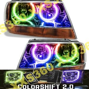 Oracle Halo 2x Headlights Black For Jeep Grand Cherokee 99 04 Colorshift 2 0