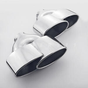 Pair 2 4 Inlet Porsche 997 C2 S 4s Gts Style Oval Stainless Steel Exhaust Tips