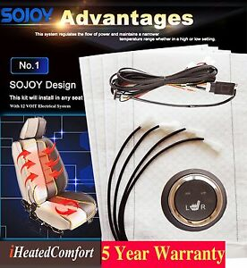 Sojoy Heated Car Seat Retrofit Kits 12v Hi lo Heat off Switch 2 Seats