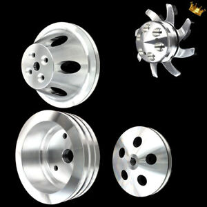 Billet Big Block 4 Pulley Set Fits Bb Chevy 396 427 454 Short Wp With Ps