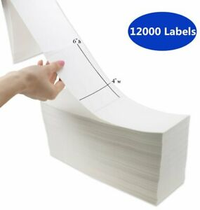 12000 Fanfold 4 X 6 Direct Thermal Shipping Barcode Labels Zebra Usps Fedex