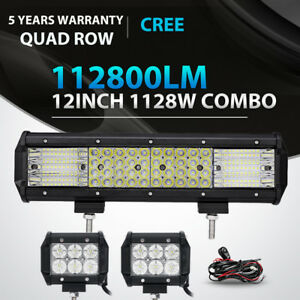 Quad Row 12inch 1128w 18w Led Work Light Bar Spot Flood Offroad Driving 4wd Atv