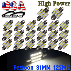 20x 31mm 12smd Festoon Led White Dome Map Interior Light Bulbs De3021 3022 3175