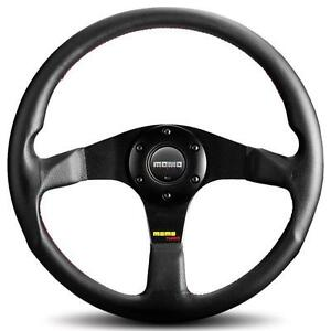 Momo Tuner Black 350mm Steering Wheel Leather Red Stitching