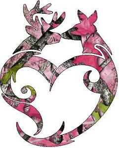 Browning Buck Doe Heart Pink Camo Vinyl Sticker Decal
