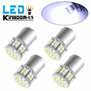 4x White1156 Ba15s 50smd Led Car Rv Camper Trailer Light Bulbs 1141 1073 1003
