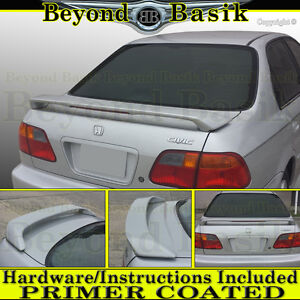 1996 1997 1998 1999 2000 Honda Civic 4d Sedan Factory Style Spoiler W Led Primer