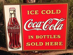 Vintage Coca Cola Sign Tin Metal Soda Pop Advertising Ice Cold Bottles Sold Here