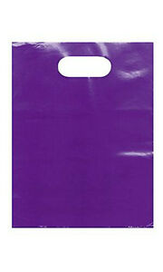 1000 Small Purple Low Density Merchandise Bag With Die Cut Handles 9 X 12