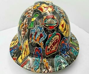 Full Brim Hard Hat Custom Hydro Dipped New Wicked Gambler Osha Approved New