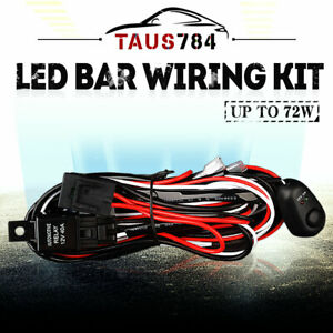 10ft Led Light Bar Wiring Harness Kit 12v Fuse Relay On off Switch 2 Lead