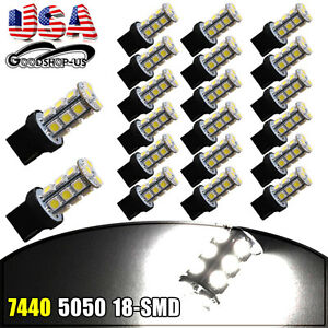 20x White 7440 T20 18smd Led Tail Brake Stop Backup Reverse Light Bulbs 7441 12v
