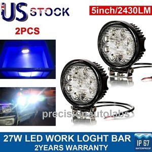 2x 27w Led Work Light Spot Cree Round Offroad Truck Fog Driving Lamp 4x4 Suv Atv