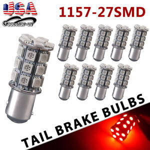 10x Super Red 1157 Bay15d 5050 27smd Tail Brake Stop Turn Signal Led Light Bulbs