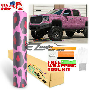 pink Leopard Vinyl Car Wrap Sticker Decal Sheet Interior Exterior Bubble Free