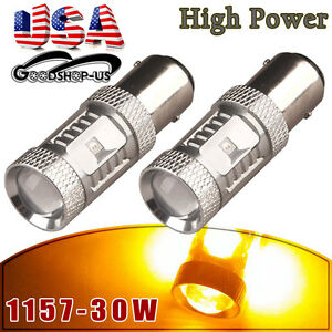 2x Amber Yellow 1157 Bay15d High Power 4300k Rv Camper Trailer Led Light Bulbs