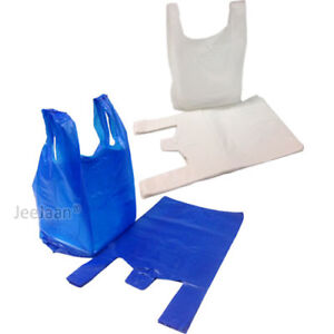 Plastic Carrier Bags Strong Medium Vest Shopping Supermarket all Sizes