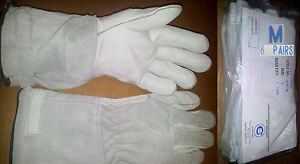 New 6 Pair Bundle M 851 Cowhide Leather Mechanic Welding Gloves 14 Med 6 cuff