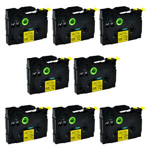 8pk Black On Yellow Label Tape For Brother Tz631 Tze 631 P touch Pt 1010 12mm 8m