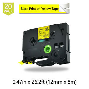 20pk Black On Yellow Label Tape For Brother Tz631 Tze 631 P touch Pt 2730 12mm