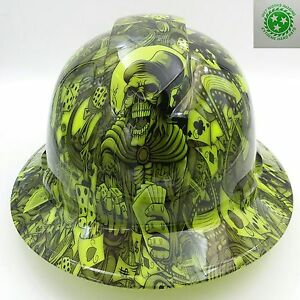 Full Brim Hard Hat Custom Hydro Dipped New Dealers Choice Lime Hot New
