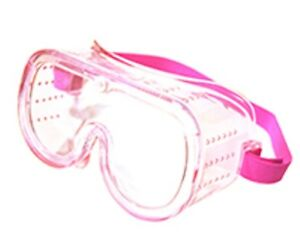 12 Pink Small Eye Protection Protective Lab Clear Goggle Glasses Safety Wear